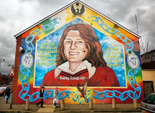 Colour photo of the Bobby Sands murial - Northern Ireland