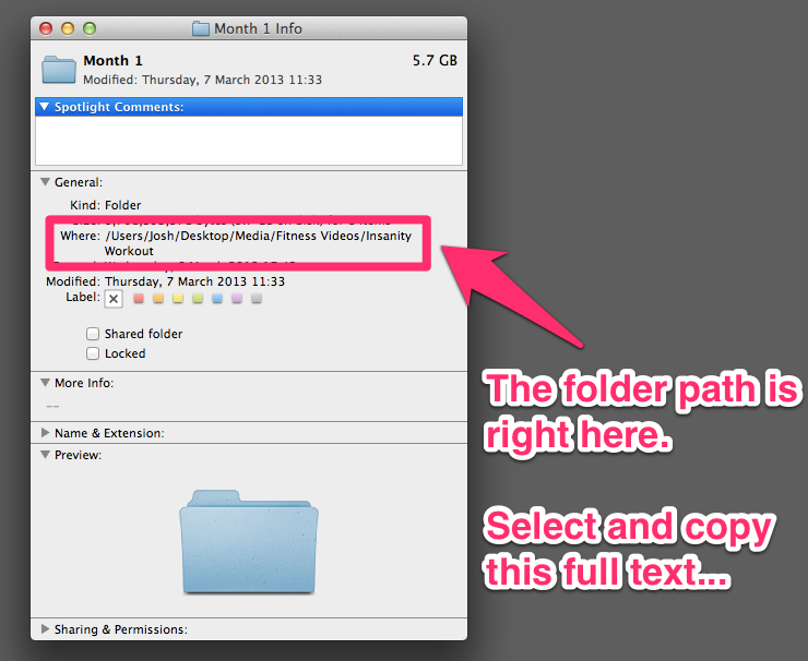 Find the Absolute Path to a folder or directory in Mac OS X