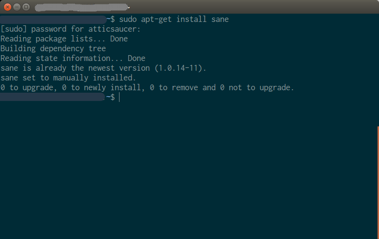 SANE installation in a terminal