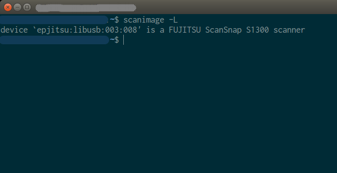 scanimage -L command in a terminal