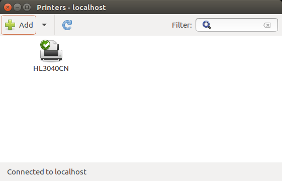 Ubuntu printer settings window